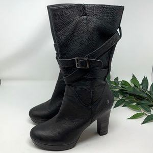 UGG Block Heel Mid Calf Black Leather Boots 9